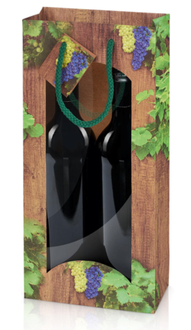 Gavepose til 2 flasker med vindue træ look