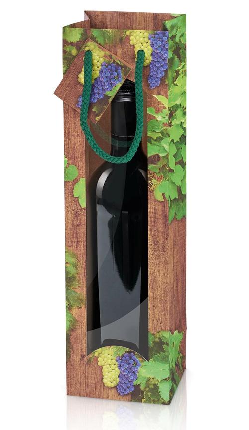 Gavepose til 1 flaske med vindue træ look og vinmotiv