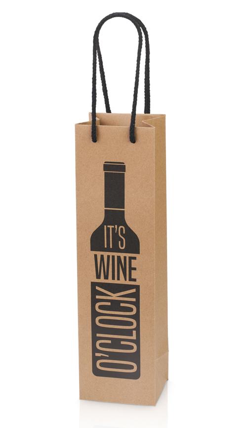 """Gavepose til 1 flaske """"It's wine o'clock"""""""